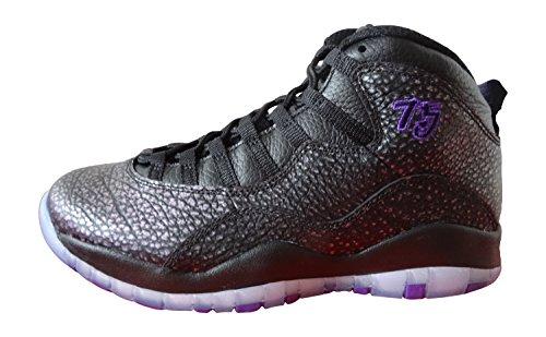 Nike Herren Air Jordan Retro 10 Basketballschuhe, Black Fierce Purple-Schwarz, 43 EU
