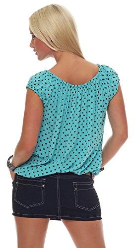 ZARMEXX Fashion - Chemisier - Tunique - À Pois - Femme Turquoise