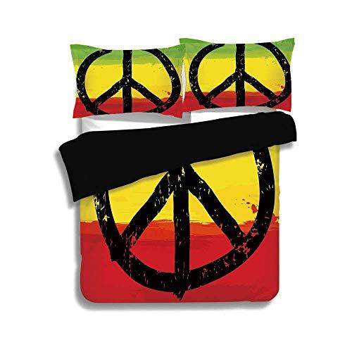 Set copripiumino nero, Rasta, acquerello stile grunge Design africano colori bandiera Hippie segno pace decorativo, nero verde giallo e rosso, decorativo 3 pezzi letto set da 2 cuscini shams, king siz