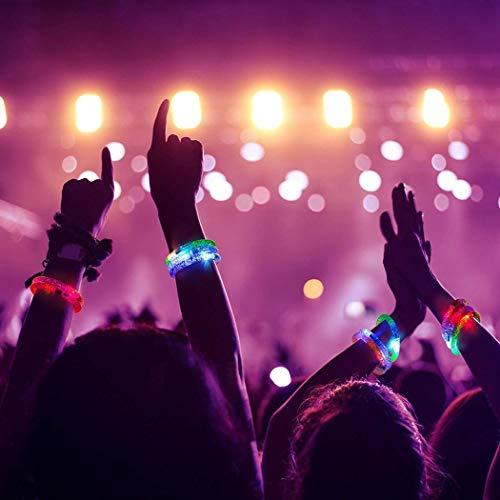 uminous Bands Flashing Bangle Bubble Armband für Weihnachten Geburtstagsparty Halloween Party Disco Konzert Kinder Spielzeug Lila Blau Rosa Grün Gelb Transparent ()