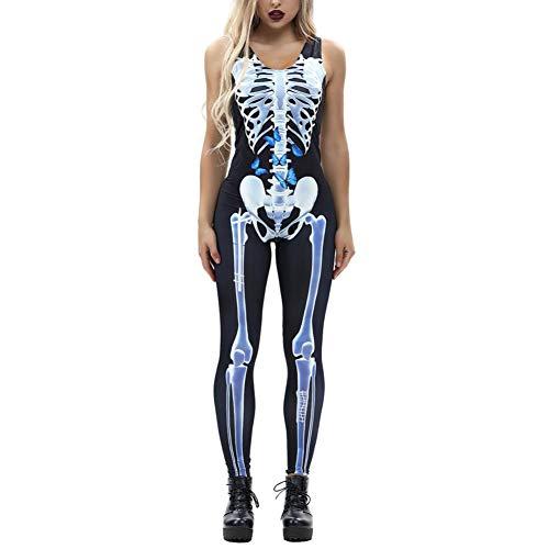 iYmitz Damen Bone Print Fashion Sling Schlank Halloween Kostüme Knöchellangen Overall(Weiß,EU-38/CN-S)