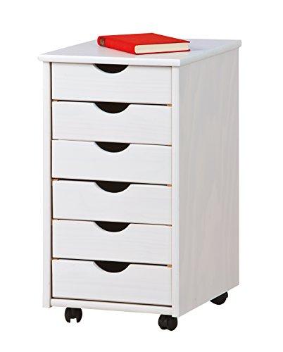 Inter Link Rollschrank Rollcontainer Simon Massivholz 6 Schubladen weiß lackiert - 5