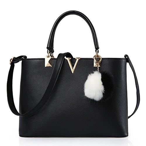 BYD - PU in pelle Donna Borsa Handbag borsa a Spalla Borse a mano Tote Bag Shoulder Bag con Mutil tasche Nero