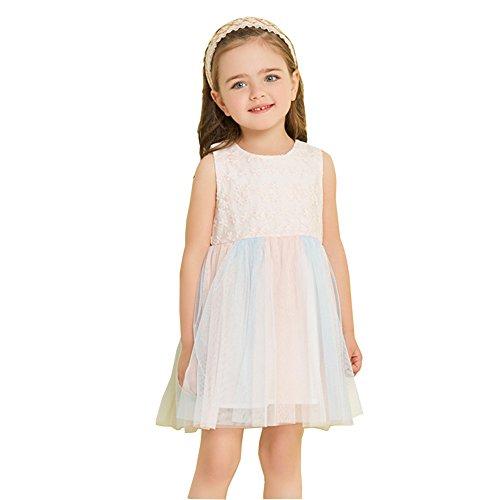EinsAcc Mädchen Freizeit Bunt Kleid Kinder Kleider Prinzessin Festkleid Brautkleid Geburtstag...
