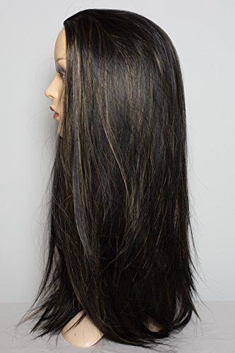 Black Hair Blonde Highlights (Elegant Hair - 22 Ladies 3/4 Half Fall Wig - Straight Style - Black/Blonde Highlights 1B/H27 - High Quality Kanekalon Heat Resistant Synthetic Fibre - Clip in Hair Piece Extension - 250g by Elegant Hair)