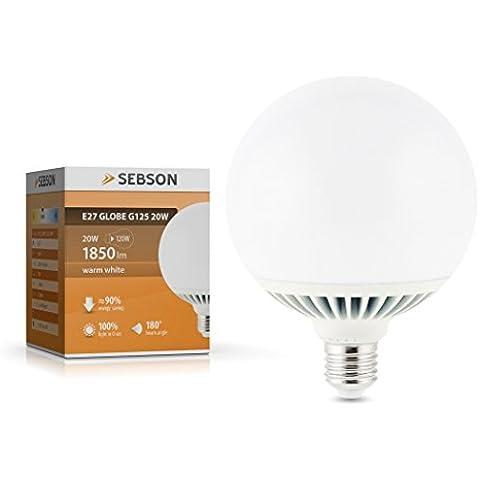 SEBSON–Bombilla LED (E27, 20W, color blanco cálido reemplazar 120W bombilla incandescente, 1850lm 180° LED bombilla de globo