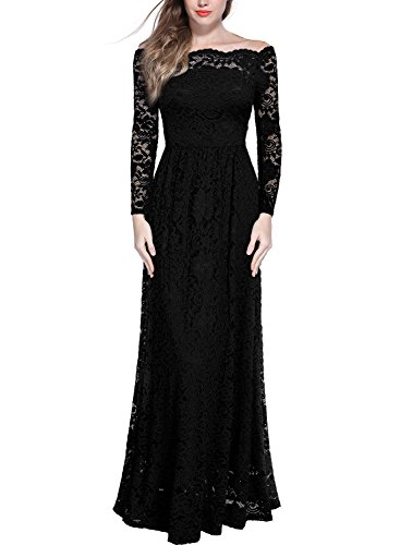 MIUSOL Women's Formal Evening Maxi 3/4 Sleeve Lace Dress,Off Shoulder Ball Gown Wedding Dresses For Women (XX-Large, Black)