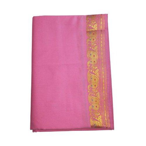 indischerbasar.de Sari rosa Goldbrokat traditionelle Bekleidung Indien Tracht Blusenstoff Wickelanleitung Bindikärtchen