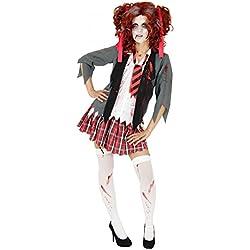 Foxxeo 40079 - colegiala Disfraz sangriento de colegiala zombi, Halloween, disfraz para mujer, talla 134-170 y XS-XL