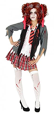 Foxxeo 40079 | Blutiges Schulmädchen Kostüm Halloween Zombie Mädchen Kinder Damen Kinderkostüm Damenkostüm Gr. 134-170 & XS-XL, Größe:164/170