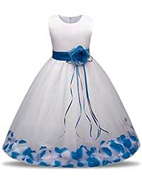 Oyedens Bambine Principessa Abiti Eleganti Bambina Partito Compleanno  Comunione Swing Vestiti Da Cerimonia Ragazza Vestito Formale 807716f6bd9