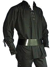 Piratenhemd mit breitem Kragen Gothic Mittelalter schwarz 895