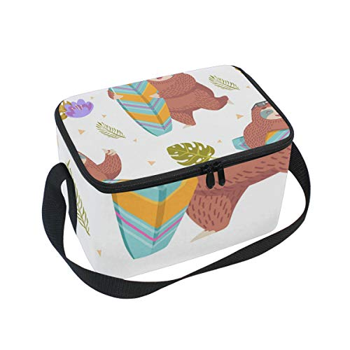 Lunchpaket Box Insulated Lunchpaket Bag Large Cooler Sloth with Surfing Board Tote Bag for Men, Women, Girls, Boys (Board Tote)