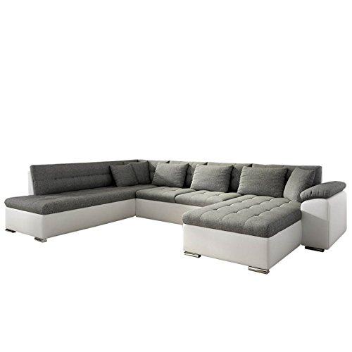 Mirjan24  Eckcouch Ecksofa Niko! Design Sofa Couch! mit Schlaffunktion! U-Sofa Große Farbauswahl! Wohnlandschaft! (Ecksofa Rechts, Soft 017 + Lux 06)