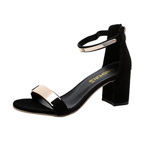 Schwarze Sandalen Aus Leder-multi (Sandalen Damen Sommer Btruely RömischSchuhe Böhmen Schuhe Mädchen Schuhe Flip Flops Frauen Sandalen Starke Ferse Schuhe Gladiator Schuhe (38, Schwarz))