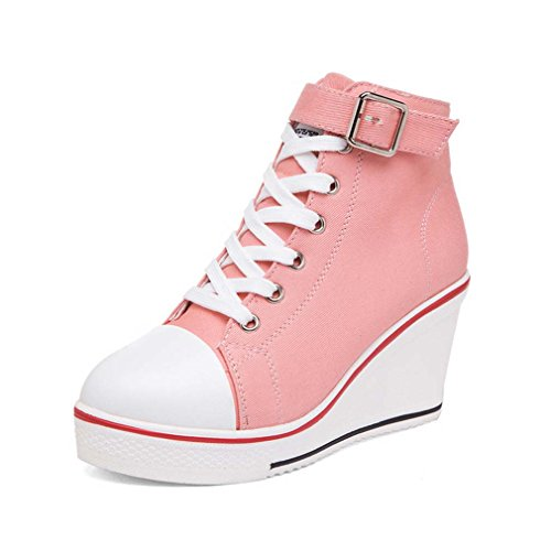 Solshine Women's Canvas Strap Buckle High Top Wedge Lace Up Casual shoes pink