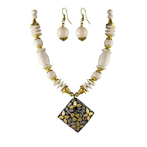Unicorn White Color Oxidized Junk Ethnic Beaded Jewellery Necklace with Earring For Girls & Women - UEFYNE30107W  available at amazon for Rs.399
