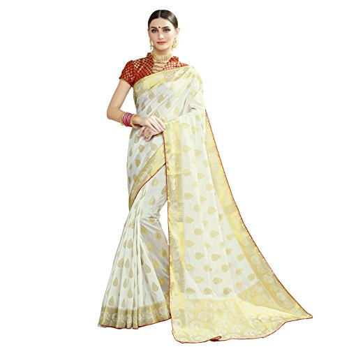 Naari Vastram Women's Cotton Silk Jacquard Blend Printed saree with Blouse Piece...