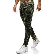 Hombres Pantalones de chándal dobladillo Algodón mezclado Camuflaje Pantalones casuales de punto Verde 8XL 3fi17Wp7fP