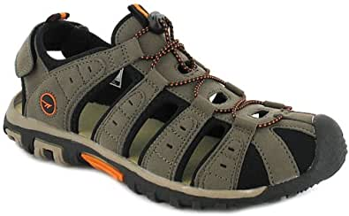 New Mens/Gents Taupe Pu & Nubuck Closed Toe Adventure Sandals - Smokey Brown/Taupe - UK 10