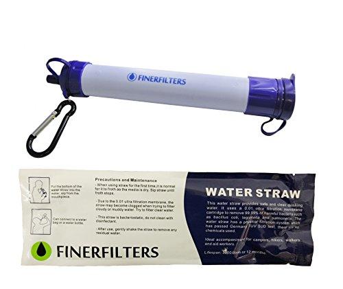 Filtro personal de agua portátil con pajilla 3000 l Finerfilters. La casa de filtros de agua. Ideal para camping y senderismo.
