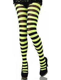 FXKO Ringelstrumpfhose zweifarbig geringelt neon gelb