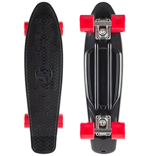 STAR-SKATEBOARDS® Vintage Cruiser Board ★ 22er Diamond Class Edition ★ Teuflisch Schwarz & Feurig Rot