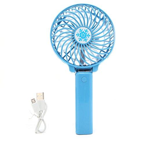 Kofun Mini Fan, Tragbare Haltegriff Fan, Faltbare Handheld Mini Fan USB Power Wiederaufladbare batteriebetriebene Hand Bar Fans Handheld Fan Wiederaufladbare - blau (mit Originalverpackung)