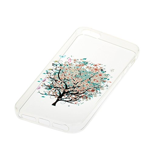 iPhone 5S Coque, Voguecase TPU avec Absorption de Choc, Etui Silicone Souple Transparent, Légère / Ajustement Parfait Coque Shell Housse Cover pour Apple iPhone 5 5G 5S SE (Quicksand campanula Saphir- le printemps