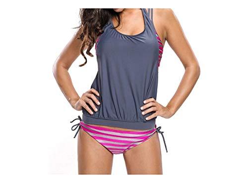 Shop-No.1 fashion Swimsuits Badeanzug gestreift Bedruckt Strand Bikini dreiteilig Split Badeanzug - - Small
