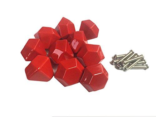 lacyan 10 x Diamant Form 30 mm Keramik Knauf Schrank Schublade Griffe für Kinder Schlafzimmer rot