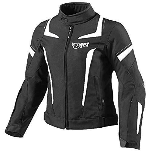 JET Chaqueta Moto Mujer Textil Impermeable con Armadura (2XL (ES 44-46), Blanco)