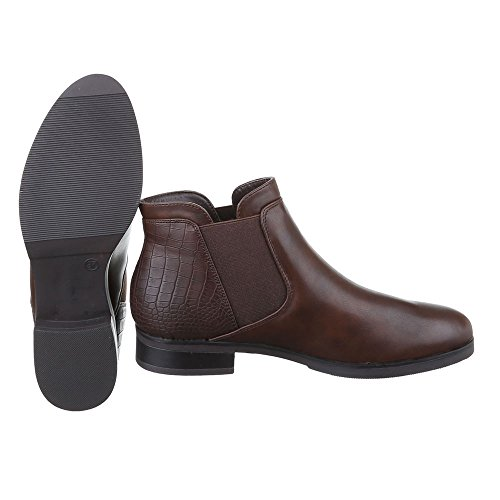 Ital-Design Chelsea Boots Damen Schuhe Chelsea Boots Blockabsatz Leicht Gefütterte Stiefeletten Braun