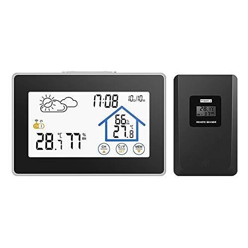 Xxsmile wireless stazione meteo con sensore esterno termometro digitale per sauna giardino stanza di allevamento,nero orologio da parete orologio da scrivania (trasversale)