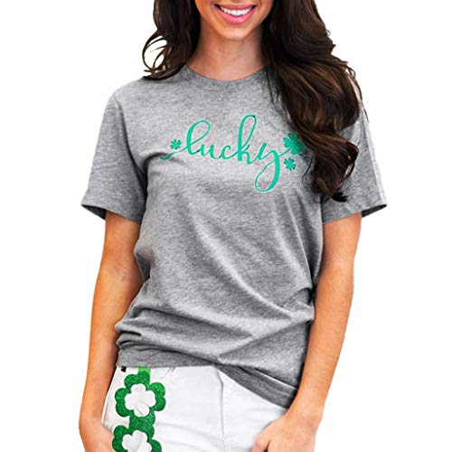 Tops Damen Sommer Sexy, Geschenk für St. Patrick's Day, Frauen Casual T-Shirt Kurzarm Bluse Gedruckt, Mädchen Sommeroberteile Hemd