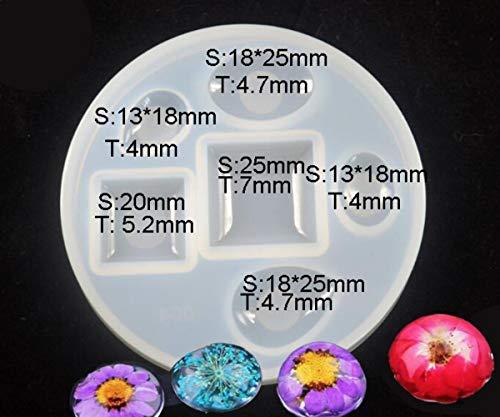 1pc 6 Größen Oval Oval Quadratisch Oval-Silikon-Diy Cabochon Halbkugel der Herstellung von Schimmel-Fach Rahmen Für Epoxid-Uv-Harz Schimmel Soap