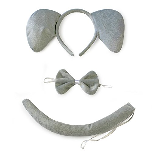 mas Animal Elephant Ears Headband Tail Set Fancy Dress Party Accessory Kids Adults ()