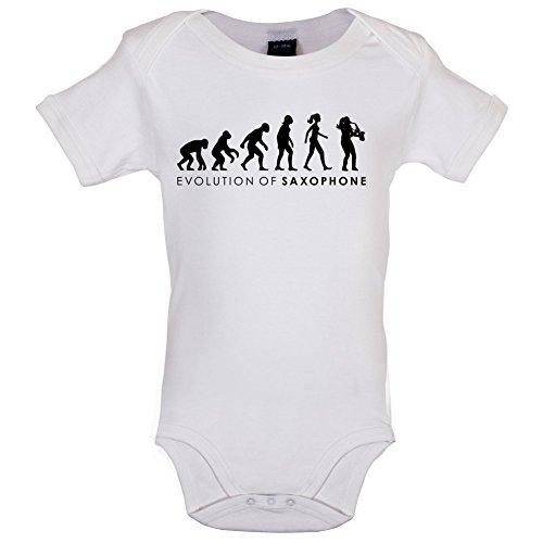 Evolution of Woman - Saxophon - Lustiger Baby-Body - Weiß - 6 bis 12 Monate