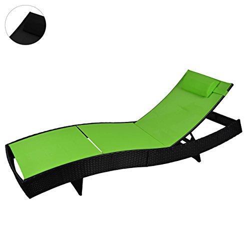 Stahl Liege Poly Rattan Rattanliege Gartenliege Sonnenliege Liegestuhl grün