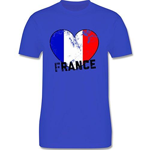 EM 2016 - Frankreich - France Herz Vintage - Herren Premium T-Shirt Royalblau