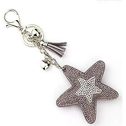 SUPRERHOUNG Schlüsselanhänger mit 5 Zacken Stern PU Quaste Schlüsselanhänger Handtasche Auto Anhänger Dekoration Geschenk (grau)