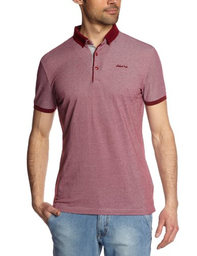 Schott NYC Herren Polo Shirt Rot - Burgundy Heather S (Nyc Polo Herren)