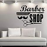 76x56cm, Stickers muraux pour la chambre à coucher, Art de tatouage mural, Salon de coiffure, Styliste, Ciseaux, Peigne, Peigne, Salon de coiffure, Magasin