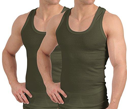 Celodoro 2er Pack - Herren Unterhemd Feinripp Exclusive - Olive - Gr. 8 - Rib Tank Top