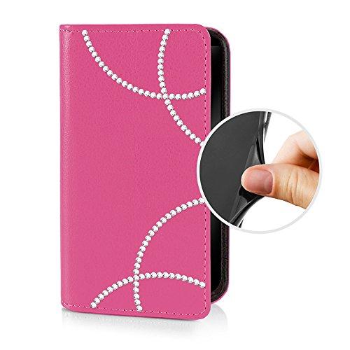 eSPee GNEB2056 Samsung Galaxy Note Edge SM-N915F Schutzhülle Wallet Flip Case Pink mit Strass Bögen Silikon Bumper und Magnetverschluß für Samsung Galaxy Note Edge SM-N915F