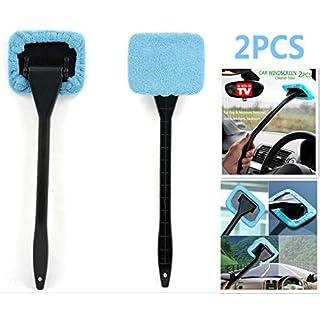 DSHT 2er Pack Auto Windschutzscheibenreiniger Werkzeuge von innen Fensterglas Reinigungswerkzeuge für Küchen mit Tuch und langem Griff (Lake Blue)