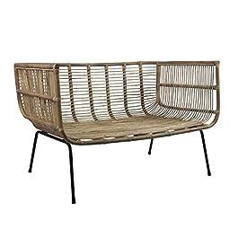 Canapé-lit en rotin Bali – Confortable et élégant – Style rétro – Pour le salon, la nature, le balcon, la terrasse
