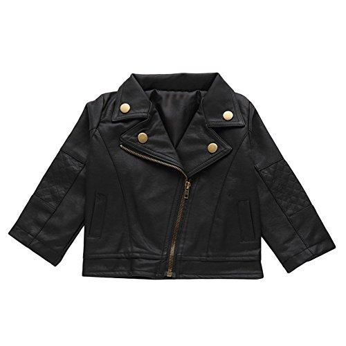 Kinder Jacke Leder Punk Rock Kleidung Kinder Outwear Weihnachtsgeschenk, junge, 90 cm (Punk-rock Kinder Kleidung)