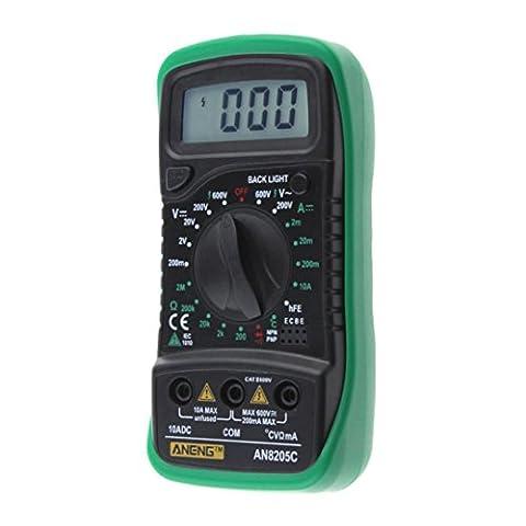 Gaddrt Nouveau thermomètre multimètre numérique Voltmètre AC DC ampèremètre Ohm Volt testeur jauge (Vert)