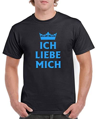 Liebe Mich Krone - Herren T-Shirt - Schwarz/Blau Gr. 3XL ()